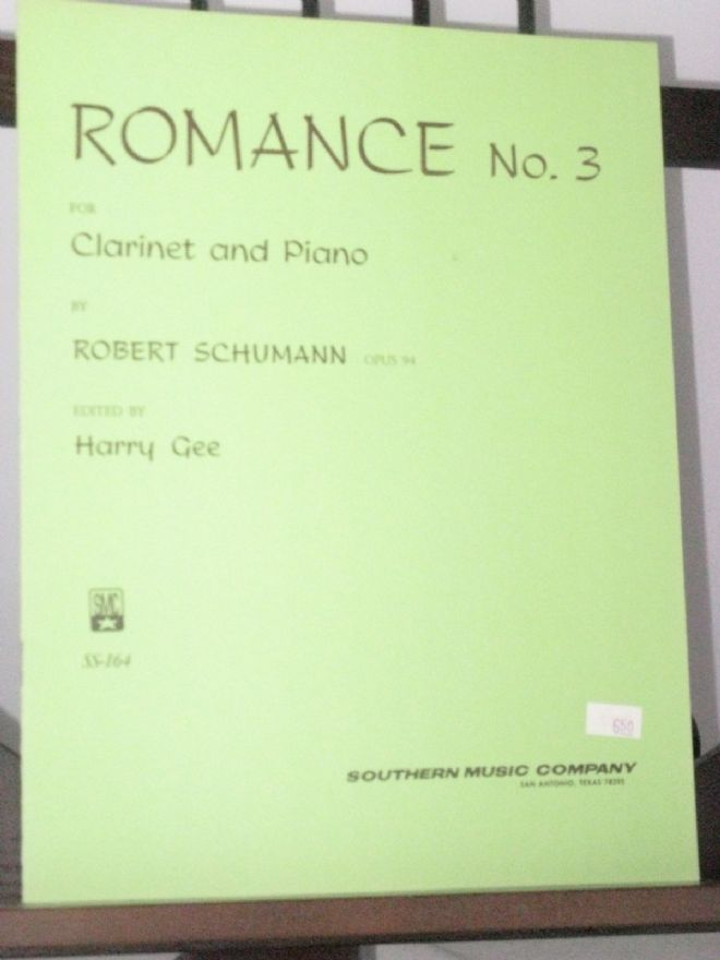 Schumann R - Romance No 3 for Clarinet & Piano arr Gee H